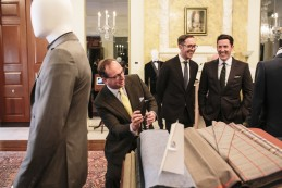 Event Party : WASHINGTON, DC - MAY 14: Managing director of Henry Poole, Simon Cundey (L) attends Savile Row Bespoke and America at the British Ambassador's Residence on May 14, 2015 in Washington, DC. (Photo by Greg Kahn/Getty Images for The British Embassy)