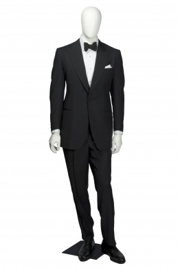 Clothing Shots : Savile Row and America- Henry Poole & Co- Park tuxedo replica peak lapel 3 piece includes trousers