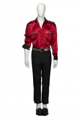 Clothing Shots : Savile Row and America - Maurice Sedwell - MJ shirt-Red heavy silk shirt with epaulettes  and crown decorations + black shiny pleated  trousers with wide upper