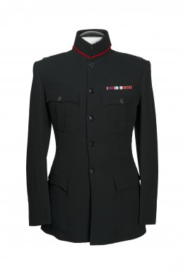 Clothing Shots : Savile Row and America- Welsh & Jefferies- Black military jacket with red collar detail -  Ghurka regiment
